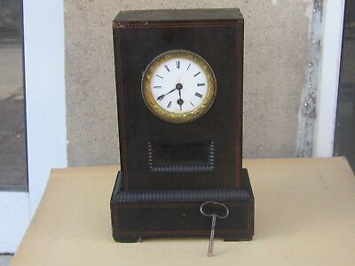 RARE ANTIQUE FRENCH 8 DAYS MARQUETRY TIME ONLY DESK MANTEL CLOCK-19th c-WORKS
