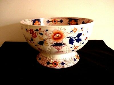 A Large Antique Allerton's Gaudy Welsh Footed Fruit Bowl - Chusan - Lovely