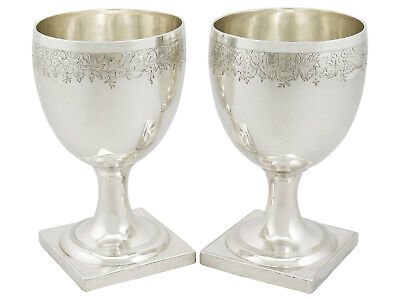 Antique Georgian Pair of Sterling Silver Goblets