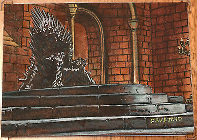 Game of Thrones Season 6 Six SKETCH CARD - Jim Faustino - Sketchafex Iron Throne