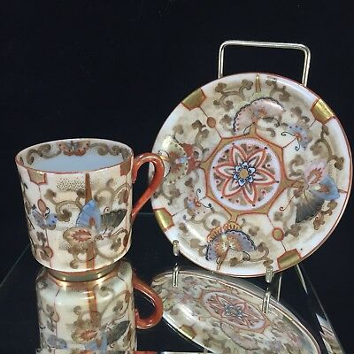 Japanese Antique Kutani Cup And Saucer Incredible Detail Butterflies And Gilt