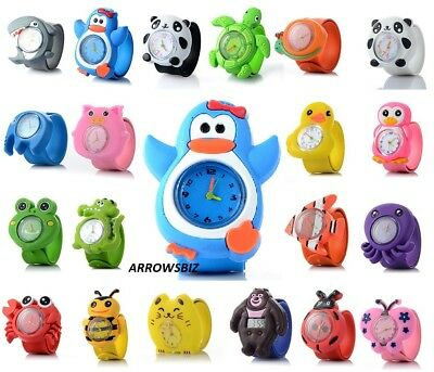 Kids New 3D Animal Cartoon Zoo Novelty Watch Analog silicon slap strap UK Seller