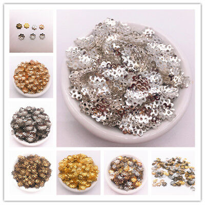 800pcs 8mm Hollow Flower Findings Cone End Beads Cap Filigree Jewelry Making