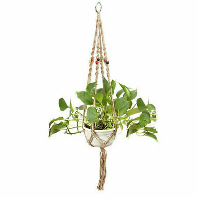 Handmade Macrame 90cm Plant Hanger Pot Holder 4 Leg Nylon Rope Home Garden Decor