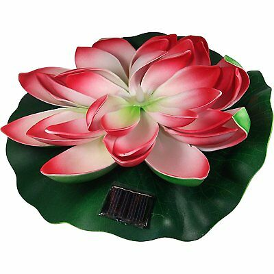 Solar Powered 10'' Floating Water Lily Pad with Light for Pond or Pool