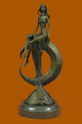 Hand Made Bronze Sculpture Beautifully Lady Over the Moon Hot Cast Artwork