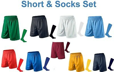 Mens Football Shorts and Socks Running Gym Sport Breathable Fitness PE XS - 2XL