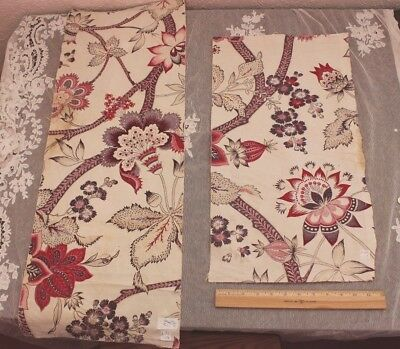 2 Pieces Of French Antique c1820-1840 Hand Blocked Indienne Fabric