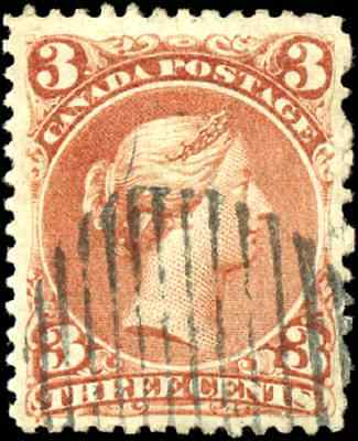 Canada #25 used F-VF 1868 Queen Victoria 3c red Large Queen CV$35.00