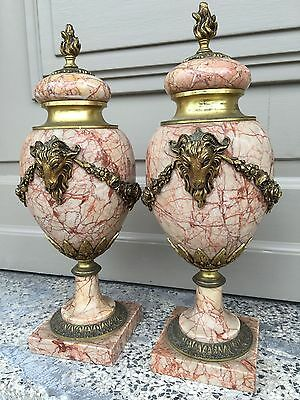 A Stunning pair of French Louis XVI Marble & Bronze Urns with ram heads /Empire