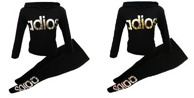 New Girls Kids Adios Gold Silver Black Tre Foil Tracksuit Age 7 8 9 10 11 12 13