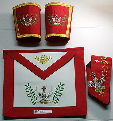 Masonic Scottish Rite Rose Croix 18th Degree Apron, Gauntlets and Collar Set