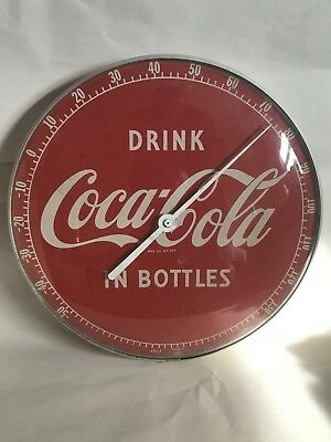 """1950s 12"""" Glass Vintage """"Drink Coca Cola in Bottles"""" Thermometer Sign Works"""