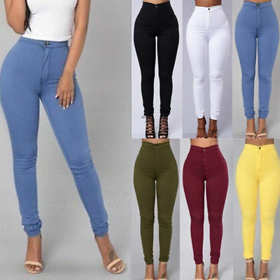 US Women Stretchy Bodycon High Waist Tight Jeans Sexy Pencil Pants Long Trousers