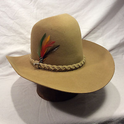 d828d255383ed Chestnut Cinnamon 4X Beaver Stetson Gus Style Western W  Chestnut Woven  Band Hat