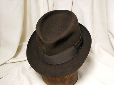 f309f48e8f3 Vintage Champ Brown Kasmir Finish Fedora Hat W Wind Trolley and Horse Pin Size  7