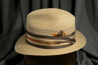 Classic 60 s Summer Stetson Natural Straw Fedora Vintage Men s Hat ... 5523d05be92d