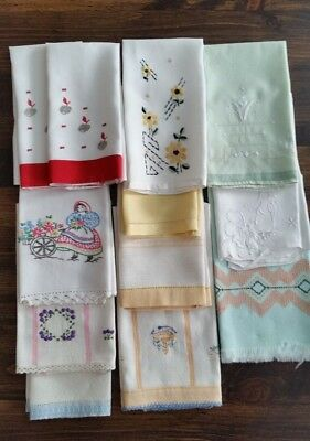 Vintage Hand/Guest/Tea Towels some Embroidered Lot of 12