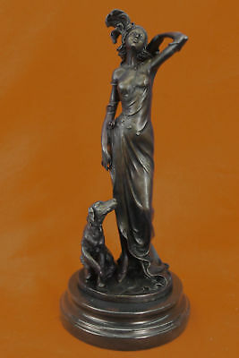 Hand Made Art Decor Copper Bronze woman girl and Dog sculpture Hot Cast Figurine