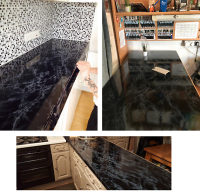 Kitchen Worktop Covering Vinyl Self Adhesive Black Marble Wrap Cover Diy  Roll Uk