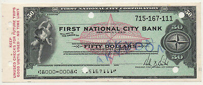 60's NY. First National City Bank Unused Traveler's Check 50 $