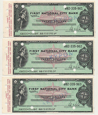 60's NY. First National City Bank 3 Consecutive Unused Traveler's Check 20 $
