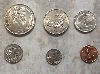 SINGAPORE COIN SET OF SIX, 1967, 1 dollar to 1 cent