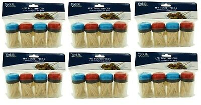 24 x BAMBOO WOODEN TOOTHPICKS DISPENSERS VALUE PACK CATERING PARTY FOOD NEW