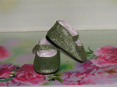 Shoes To Fit The American Galoob Baby Face Girl Doll Green Sparkle