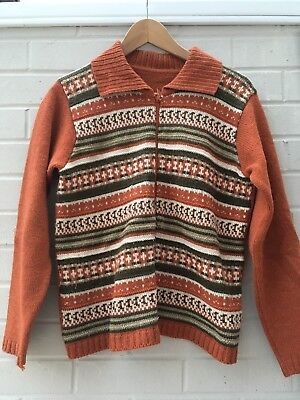 Vintage 70s Zip Woollen Knit Cardigan Brown Retro Vintage Boys Womens 10-12 13
