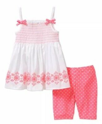 Healthtex Toddler Girl Smocked Tunic and Bike Shorts Outfit Set Size 2T