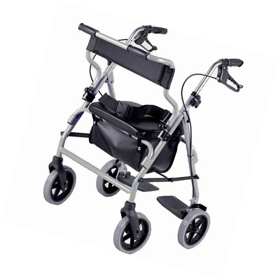 BEST Mobility Transit Wheel Chair Rollator Height Adjustable Padded Seat Folding