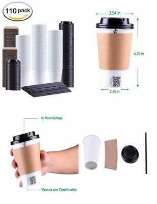 Kindpack Disposable Coffee Cups With Lids Sleeves and Straws 12 oz,110 Count New