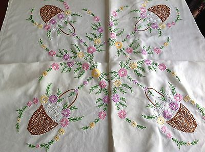 Vintage Hand Embroidered Natural Linen Table Cloth 51x51 Inches