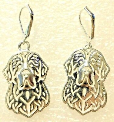Newfoundland Dog Puppy Silver Alloy Leverback Drop Earrings Jewelry