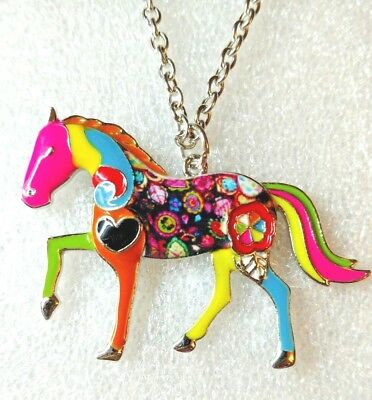 """Large Standing Horse Enamel Alloy Pendant Necklace Multicolor 18"""" Jewelry"""