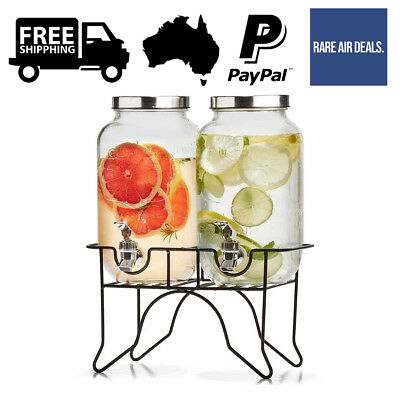 Dual Glass Drink Dispenser 3.5L Beverage Stand Soda Water Party Wedding Cold