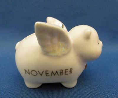 November Birth Stone Pig With Wings Ceramic Ornament / Coin Bank