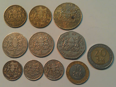 Kenya 11 different coins, cents & shillings up to a pair of bi-metallic types