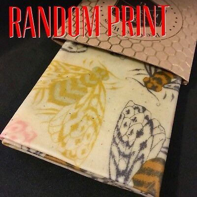 Beeswax Food Wraps 13cm, 20, 26, 31, 35 or 40cm square Random Patterns from $3