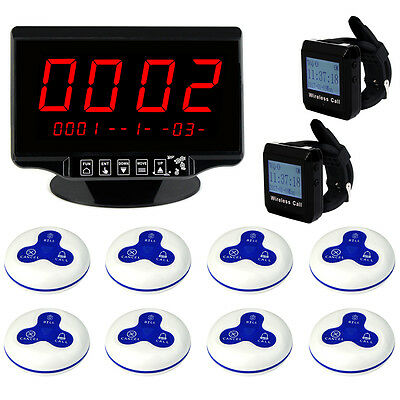 "2.3"" Wireless Paging Set Voice Report Host+Watch Receiver+Calling Button Pagers"