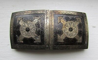 Antique Vintage African Tuareg Ethnic Tribal Buckle Ebony & Silver !