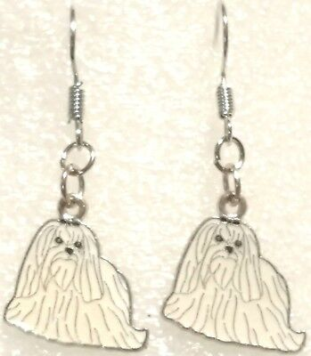 Tiny Earrings White Maltese Dog Pup Dangle Silver Hook Handcrafted Jewelry