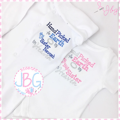 Personalised Baby Sleepsuit/Vest/Bib 'Hand picked for Earth' Embroidered Gift