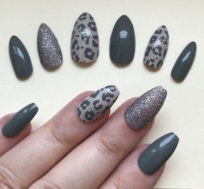 Hand Painted False Nails STILETTO (Or ANY SHAPE) Grey / Stone Leopard Print UK