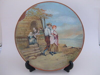 """Rare Victorian 12"""" Hand Painted Terracotta Wall Plate C.1890 - Painting Comp."""