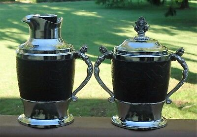 Lovely Matching Set Vintage Ice Bucket & Water Jug *Lady Handles *Made in Japan