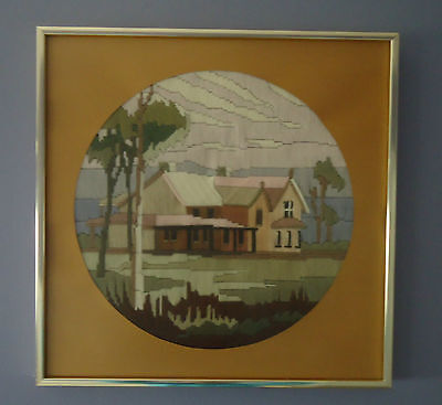 Lovely Vintage Country Style Completed Longstitch Picture *Homestead *Framed