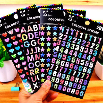 Colourful Puffy Stickers Alphabet Numbers Stars Hearts for Craft Scrapbooking