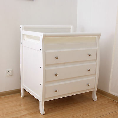 Baby Wooden Sleigh Change Table 3 DRAWERS with Pad WHITE Chest Dress